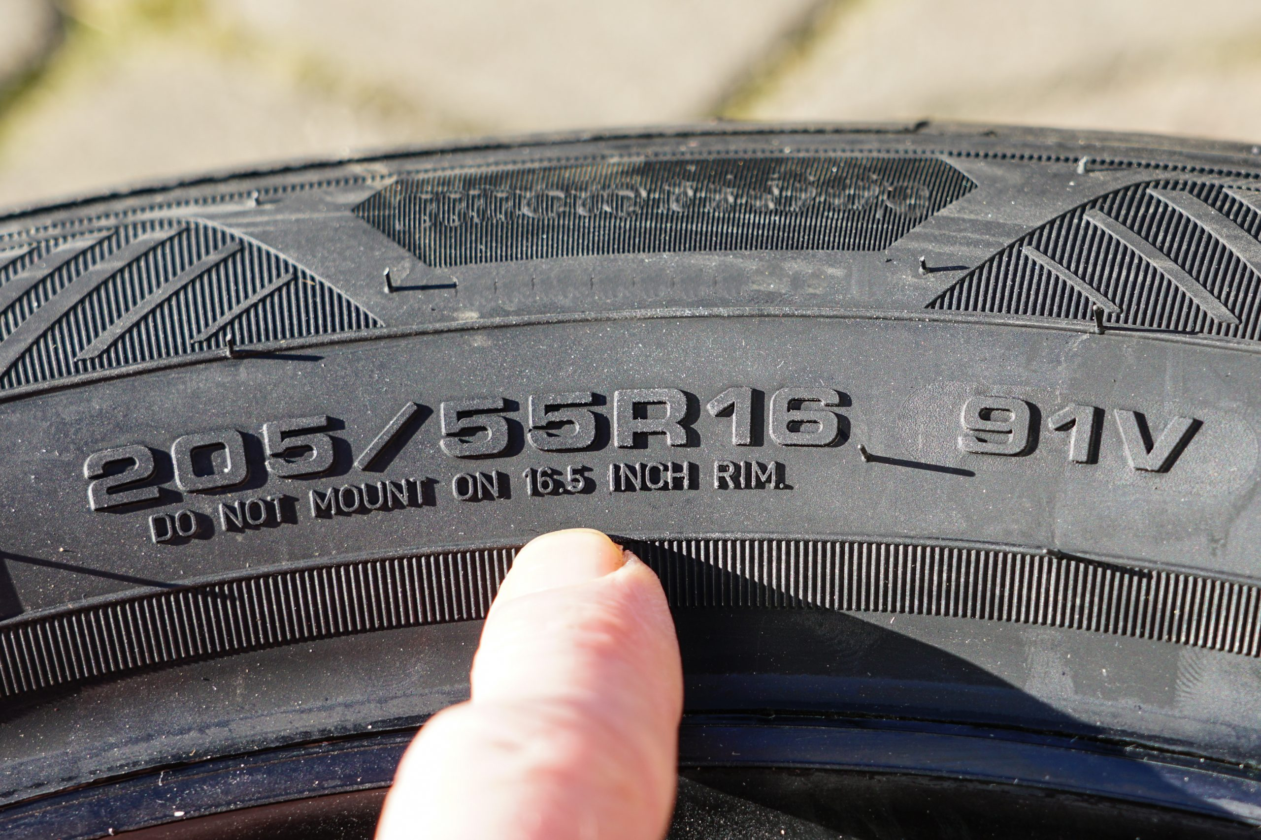 Tire Size on Sidewall